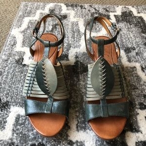Brand New Anthropologie Naya Green Leather Sandal